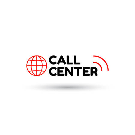 Red call center in flat style. Globe and inscription call center with sound waves. Icon isolated on white background. Vector illustration