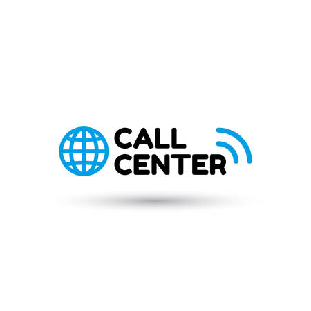 centralised: Blue call center in flat style. Globe and inscription call center with sound waves. Icon isolated on white background. Vector illustration Illustration