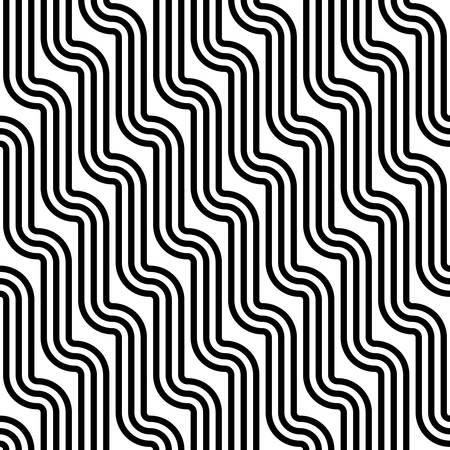 Naadloos golfpatroon op donkere achtergrond van rond gemaakte gestreepte linten die verticale stralen van waterval vormen. Geometrische grafische textuur. Eindeloze gestreepte zwart-wit achtergrond met kronkelende elementen.
