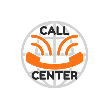 centralised: call center in flat style, looks like smile. Orange old phone handset, the inscription Call Center and Globe behind. Icon isolated on white background. Vector illustration Illustration