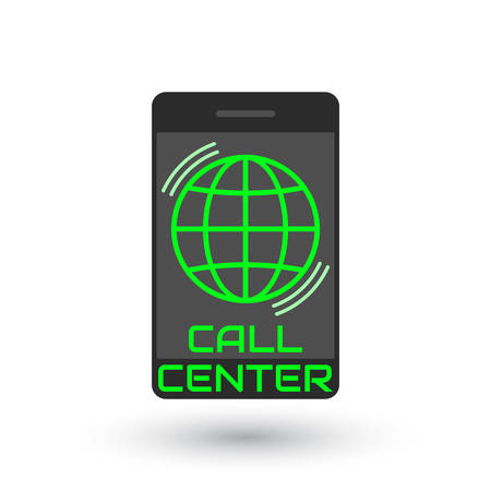 centralised: Icon call center in flat style. green globe inside vertical mobile phone, with the sound waves. Icon smartphone isolated on white background. Vector illustration