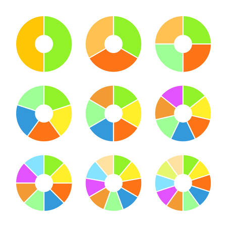 sectoral: Set of colored pie charts. Templates sectoral graphs in flat style. Colorful elements for infographics. Vector illustration