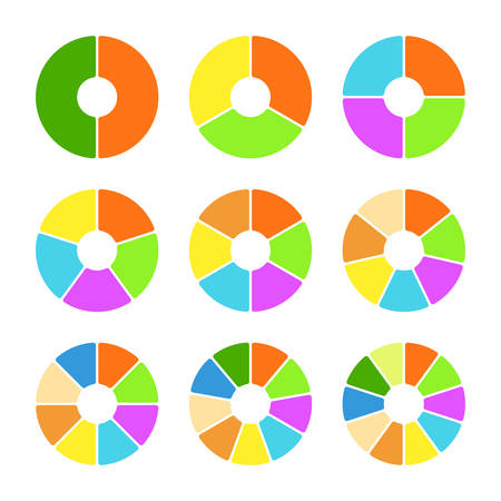sectoral: Set of colored pie charts with rounded forms. Templates sectoral charts. Colorful elements for infographics. Vector illustration Illustration