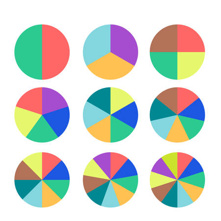 sectoral: Set of colored pie charts. Templates sectoral graphs in flat style. Business data, colorful elements for infographics. Vector illustration