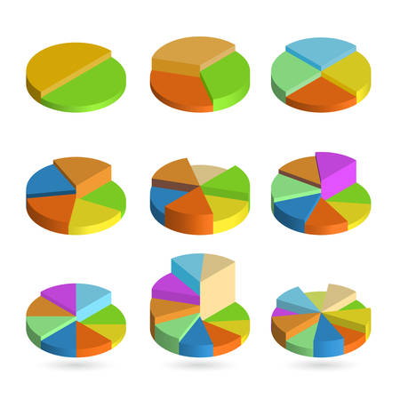 Set of bulk isometric pie charts different heights. Templates realistic three-dimensional pie charts. Business data, colorful elements for infographics. Vector illustration