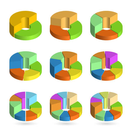 Set of bulk isometric pie charts different heights. Templates realistic three-dimensional pie charts. Business data, colorful elements for infographics. Vector illustration Illustration