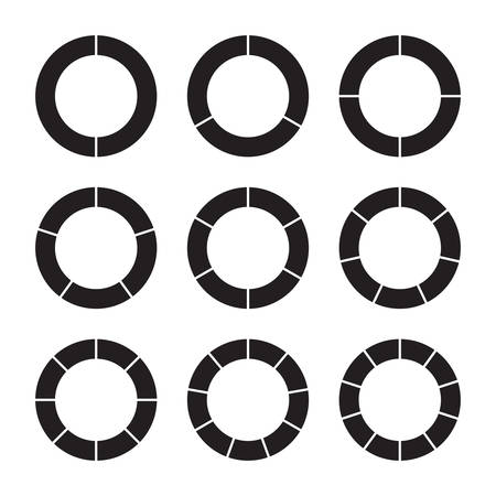sectoral: Set of black pie charts in ring form. Templates sectoral graphs. Business data, monochrome elements for infographics. Vector illustration Illustration