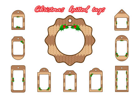 thematic: Set tags, labels in knitted style. Christmas or New Year tags in knitted style. For thematic sales or festive decoration shops. Knitted labels for design Illustration