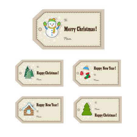 Christmas Gift Tags Set Cute Christmas Labels Vector Illustration