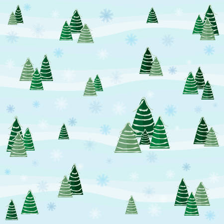 Festive winter pattern with snow-covered Christmas trees and snowflakes. Design for greeting cards, gift wrapping paper, Christmas and New Year's background Ilustração