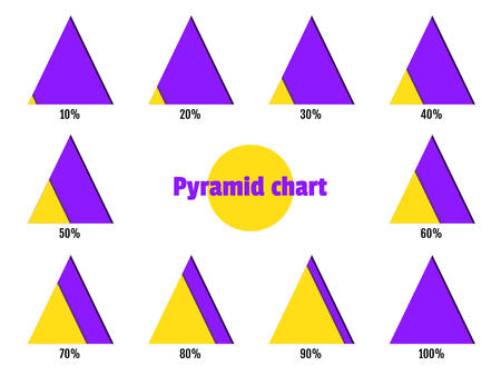 Set of yellow violet diagonal layer pyramid charts. Elements for infographics Illustration