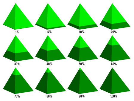 Set of green isometry pyramid charts with not symmetrical layered percent. Elements for infographics. Vector illustration Illustration