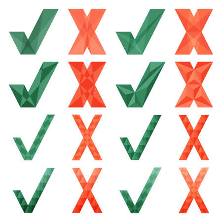 Mark X and V cristal style. Set of green hooks and red crosses. Yes No icons for websites or applications. Right Wrong signs isolated on white background. Red cross, green tick vector set