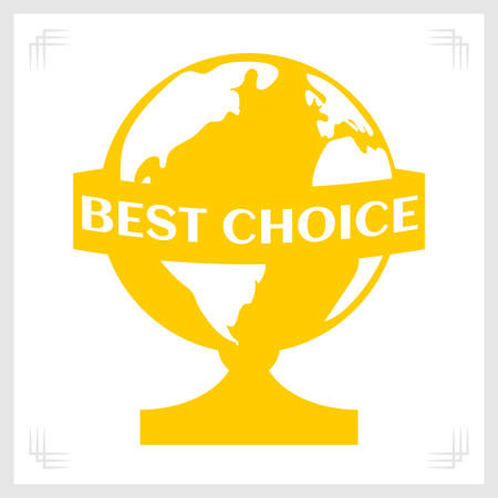 Best Choice globe stencil monochrome gold. Award for excellent goods or great product. Vector