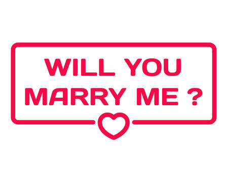 Will You Marry Me badge with heart icon flat vector illustration on white background. Wedding theme in dialog bubble. Romantic quotes stamp for cards, invitations, banners, labels, blog article