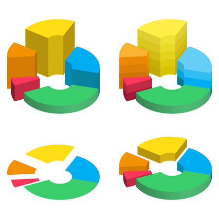 Set of bulk isometric pie charts different heights with separated segments. Templates realistic three-dimensional pie charts. Business data, colorful elements for infographics. Vector illustration Illustration