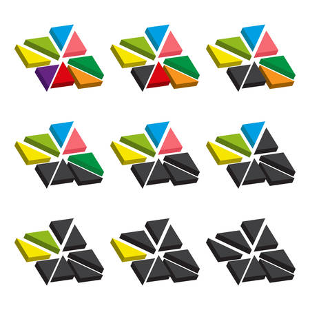 sectoral: Set of colored charts of triangles. Templates sectoral graphs in flat style. Colorful elements for infographics. Vector illustration Illustration