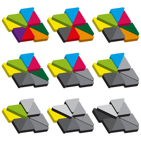 sectoral: Set of colored charts of triangles with rounded corners. Templates sectoral graphs in flat style. Colorful elements for infographics. Vector illustration