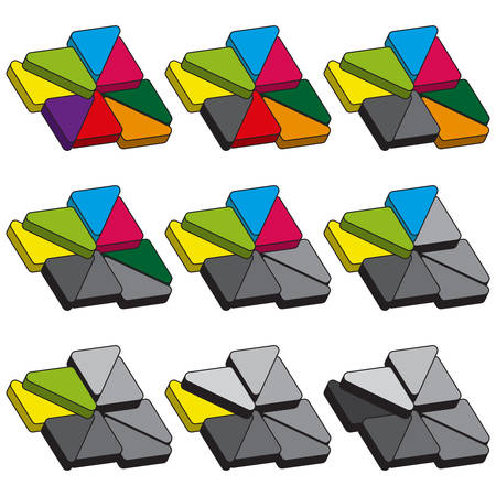 sectoral: Set of colored charts of triangles with rounded corners and hard stroke. Templates sectoral graphs in flat style. Colorful elements for infographics. Vector illustration