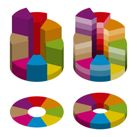 Set of bulk isometric pie charts different heights and color gradation. Templates realistic three-dimensional pie charts. Business data, colorful elements for infographics. Illustration