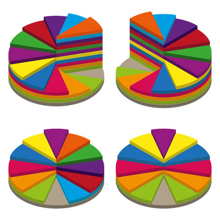 sectoral: Set of colored isometric pie charts. Templates sectoral graphs in 3D style. Colorful volume elements for infographics. Vector illustration Illustration