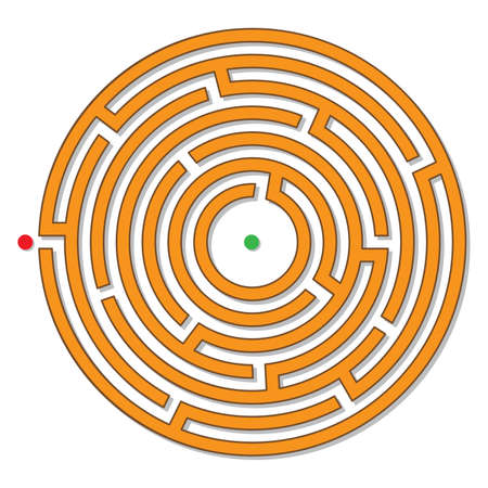 Circular maze, labyrinth. Logical puzzle. Vector