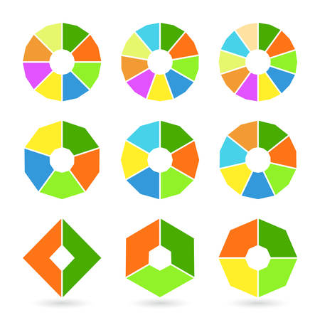 Set of pie charts with straight edges. Templates sectoral angular graphs in flat style. Colorful elements for infographics. Vector