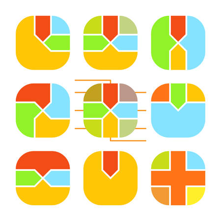 rounding: Set of abstract rounding square histogram. Templates creative sectoral graphs.