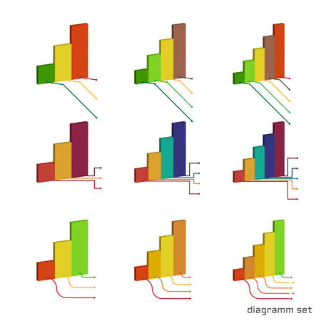 Set of left-sided isometric histogram with callouts for inscription. Templates volume graphs . Colorful elements for infographics. Vector