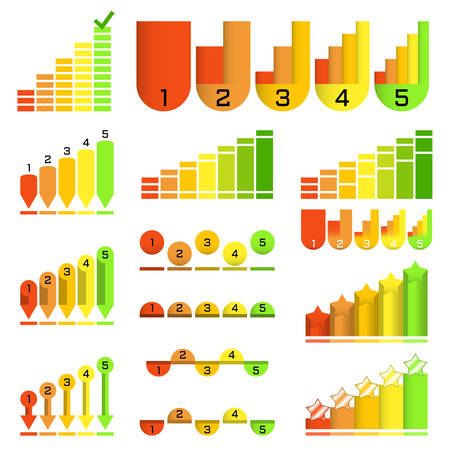 Set of histograms in different unusual style: arrow, pointer, column, ball. Graphic template. Colorful infographics elements. Vector Illustration