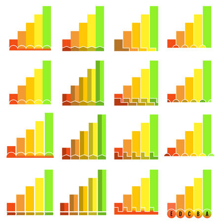 Set of histograms in different unusual styles. Graphic template. Colorful infographics elements. Vector