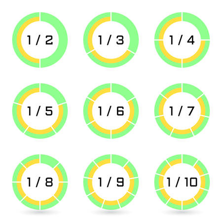 Set of green segmented ring diagrams with selected fraction. Templates sectoral graphs in flat style. Colorful elements for infographics. Vector