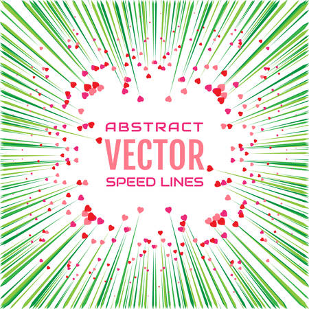 Speed line with green rays and red hearts on white background.