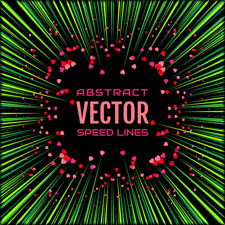 Speed line with green rays and red hearts on black background. Festive illustration with effect power explosion. Illustration