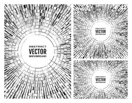vertex: Set geometric monochrome grey illustration of radial random abstract shapes. Disco ball background. Free space in the center for your text