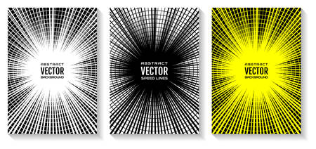 Set comic book speed lines radial background with effect power explosion. Geometric illustration of rays intersected by circular rings, as an equalizer. Background of random abstract shapes