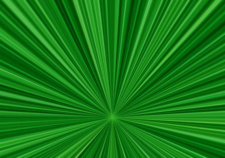 Radial speed lines with a downwardly shifted center. Abstract fractal background with bright green rays. Zoom effect Illustration