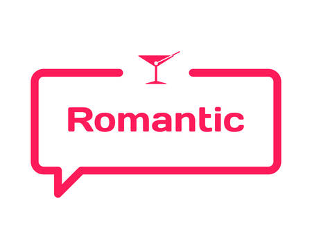 Romantic template dialog bubble in flat style on white background. Basis with wineglass icon for various word of plot. Stamp for quotes to cards, banners, labels, notes, blog article. Vector