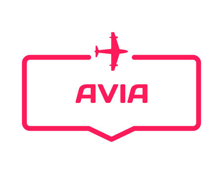 Avia template dialog bubble in flat style on white background. Basis with airplane icon for various word of plot. Stamp for quotes to cards, banners, labels, notes, blog article. Vector
