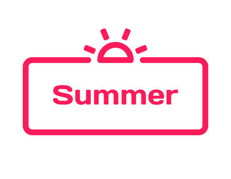 Summer template dialog bubble in flat style on white background. Basis with sun icon for various word of plot. Stamp for quotes to cards, banners, labels, notes, blog article. Vector