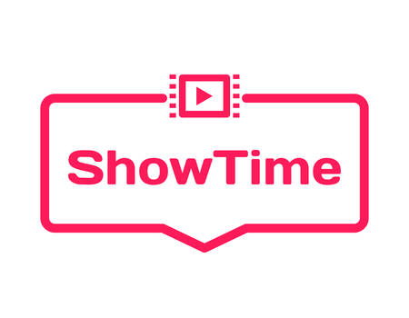 Showtime template dialog bubble in flat style on white background. Basis with film icon for various word of plot. Stamp for quotes to cards, banners, labels, notes, blog article. Vector Illustration