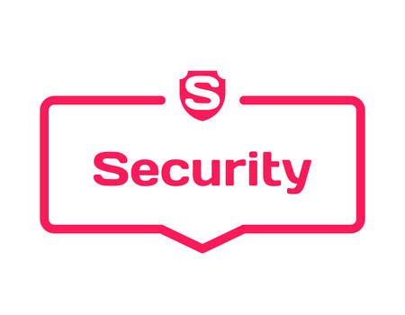 Security template dialog bubble in flat style on white background. Basis with shield icon for various word of plot. Stamp for quotes to cards, banners, labels, notes, blog article. Vector