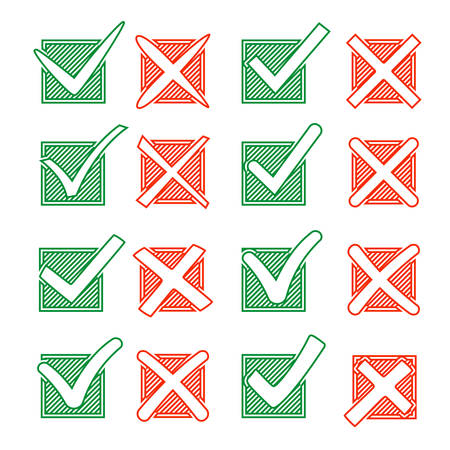 off the hook: Contour red cross X and green hook V in hatching check box. Yes No icons for highlight selection