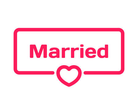 billet: Married template dialog bubble in flat style on white background. Basis with heart icon for various word of plot. Stamp for quotes to cards, banners, labels, notes, blog article. Vector