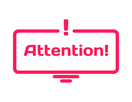 Attention template dialog bubble in flat style on white background. Basis with exclamation point icon for various word of plot. Stamp for quotes to cards, banners, labels, notes, blog article. Vector Ilustrace