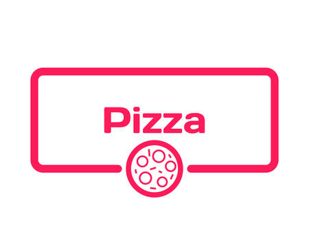 Pizza template dialog bubble in flat style on white background. Basis with themed icon for various word of plot. Stamp for quotes to cards, banners, labels, notes, menu, blog article. Vector