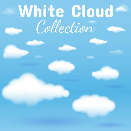 白い雲コレクション イラスト。