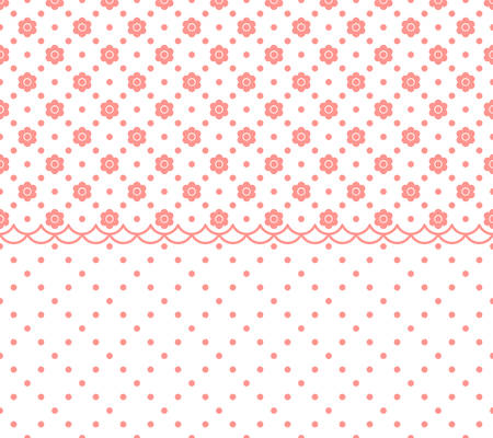 Horizontal seamless geometric pattern with abstract flower ornament. Vector