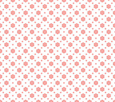 Seamless geometric pattern with abstract pink flower ornament. Vector Illustration
