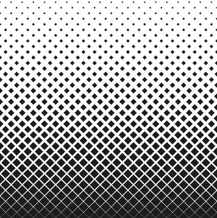 Horizontal seamless Halftone of squares decreases up, on white background. Contrasty halftone background. Vector illustration